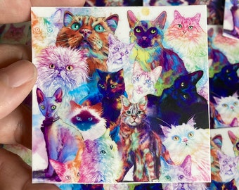 3 Pack of Cat Vinyl Stickers or Mix & Match
