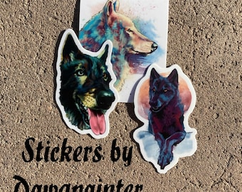 3 Pack of Shy Wolf Vinyl Stickers