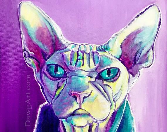Colorful Pet Portrait Pet Portrait Cat Art DawgArt Art Prints Pet Portrait Artist Siamese Cat Kitty Art Cat
