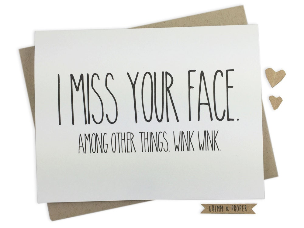 Miss You Card Miss Your Face Love Long Distance Etsy