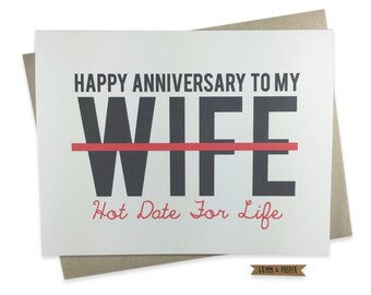 Funny Anniversary Card for Wife, Wedding Anniversary Card to Wife, Funny Anniversary Card, To Wife, From Husband, Marriage Anniversary
