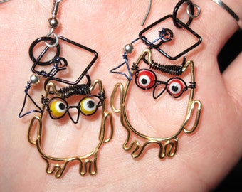 Wire Wrapped Wise Owl Graduation Earrings MADE to ORDER