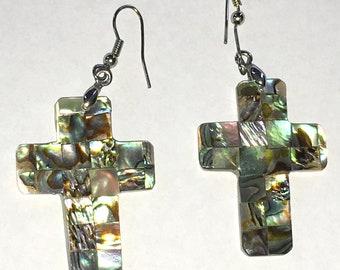 Vintage Abalone Cross Earrings