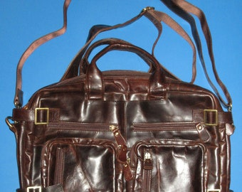 Convertible Brown Leather Backpack Messenger Bag