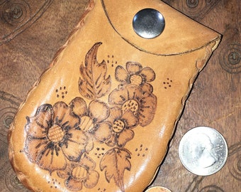 Leather Coin Purse with Etched Flowers