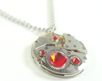 Steampunk Necklace Clockwork Jewelry With Fiery Red Crystals
