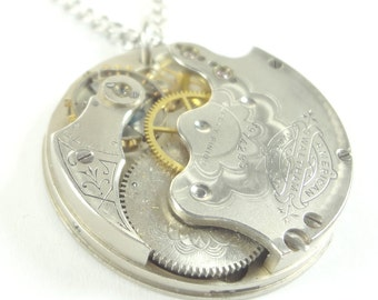 Steampunk Necklace Made From 1889 Victorian Pocket Watch Movement