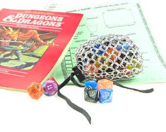 Dungeons And Dragons Dice Gaming Bag Medium Chainmaille Aluminum  SKDB-AL-M-SV