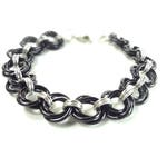 Chainmaille Mobius Bracelet In Black And Silver Anodized Aluminum