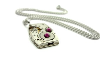 Steampunk Style Necklace Made From Vintage Watch Movement And Purple Swarovski Crystals SPN-6434