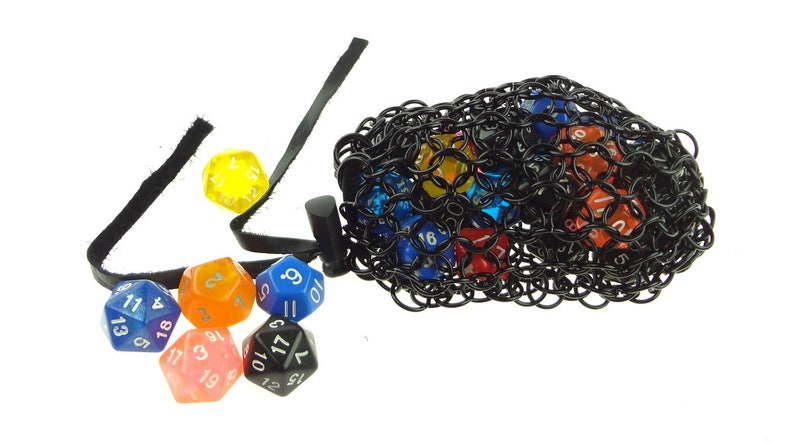 Black Dice Bag For Dungeons And Dragons  Medium Chainmaille image 0
