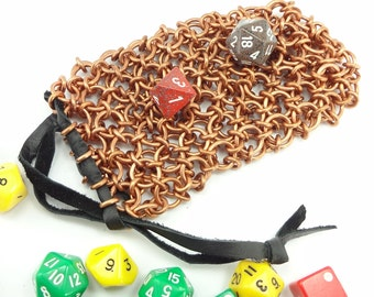 Chainmaille Dice Bag For Dungeons And Dragons Dice Oriental Weave Handmade - LARP - RPG - SKDB-C-J--L