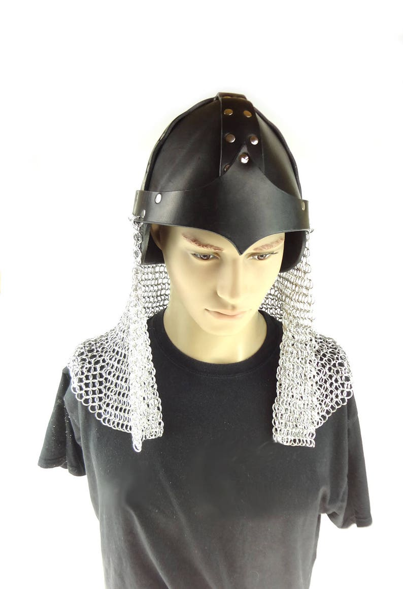 Knight's Chainmaille And Leather Helm For Cosplay Game Of image 0
