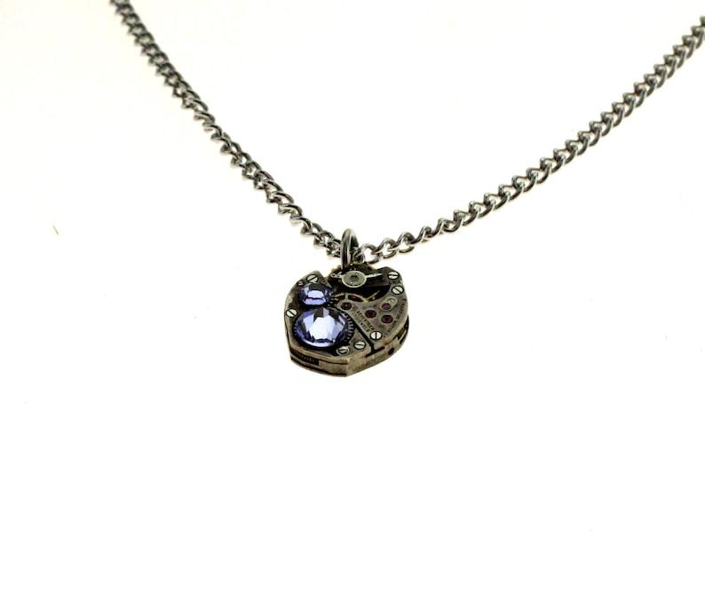 Steampunk Necklace Clockwork With Beautiful Pale Purple image 1