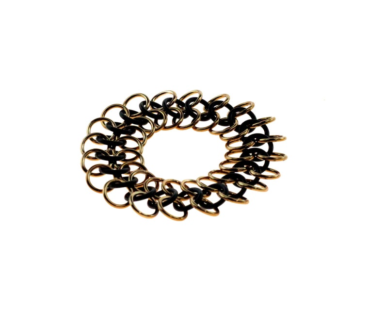 Stretchy Chainmail Bracelet With Black Neoprene And Bronze image 1