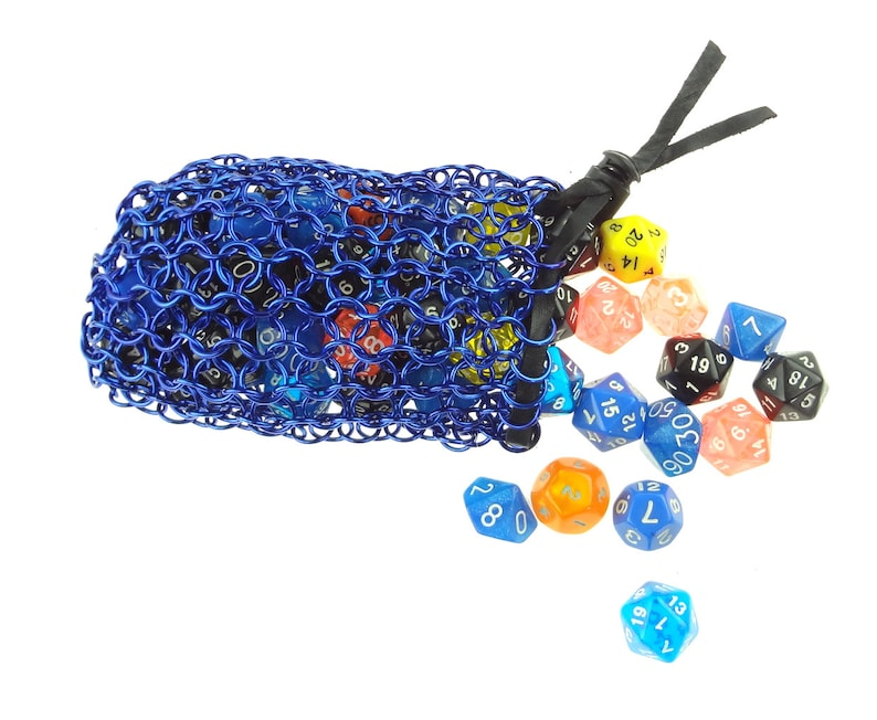 Dice Bag For Dungeons And Dragons Blue Chainmaille Pouch image 0