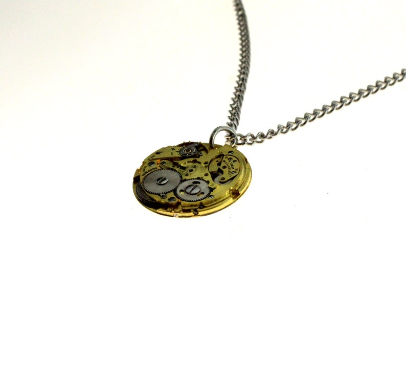 Steampunk Necklace Gold Tone Clockwork Pendant image 1