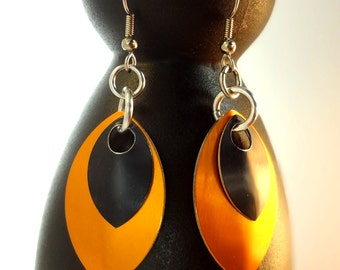 Orange And Black Dragon Scale Earrings Inspired By Game Of Thrones