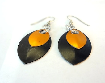 Black And Orange Dragon Scale Earrings Inspired By Game Of Thrones