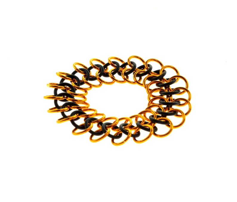 Stretchy Chainmail Bracelet With Black Neoprene And Orange image 1