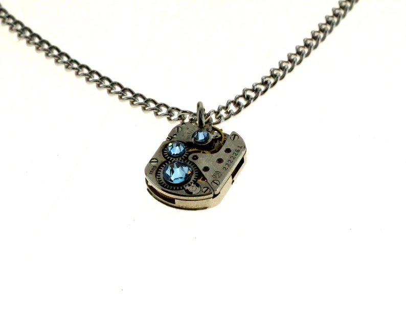 Steampunk Necklace Clockwork With Beautiful Pale Blue image 1
