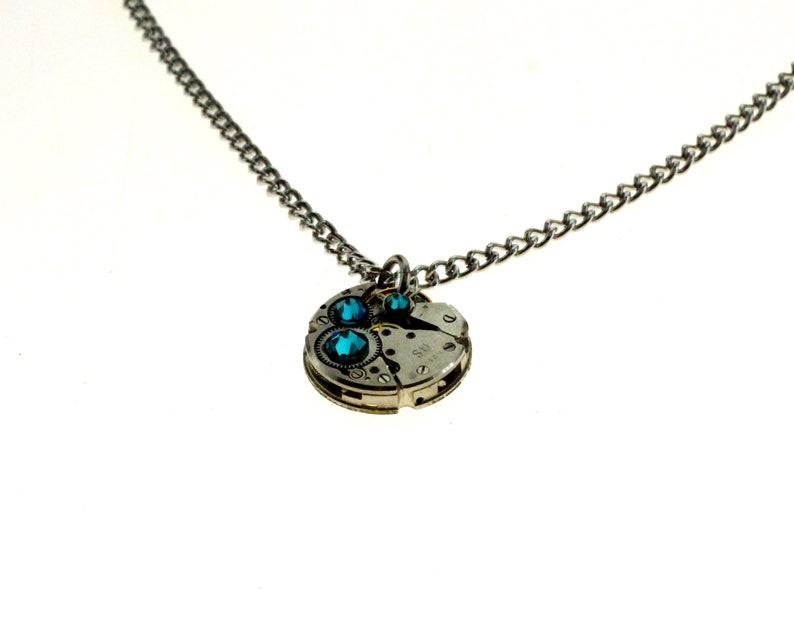 Steampunk Necklace Clockwork With Beautiful Teal Swarovski image 1