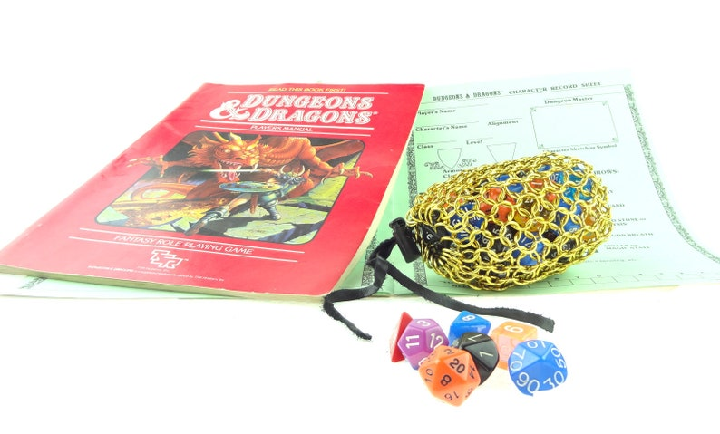 Dungeons And Dragons Gold Gaming Dice Bag Medium Chainmaille image 0