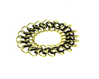 Stretchy Chainmail Bracelet With Black Neoprene And Gold Anodized Aluminum