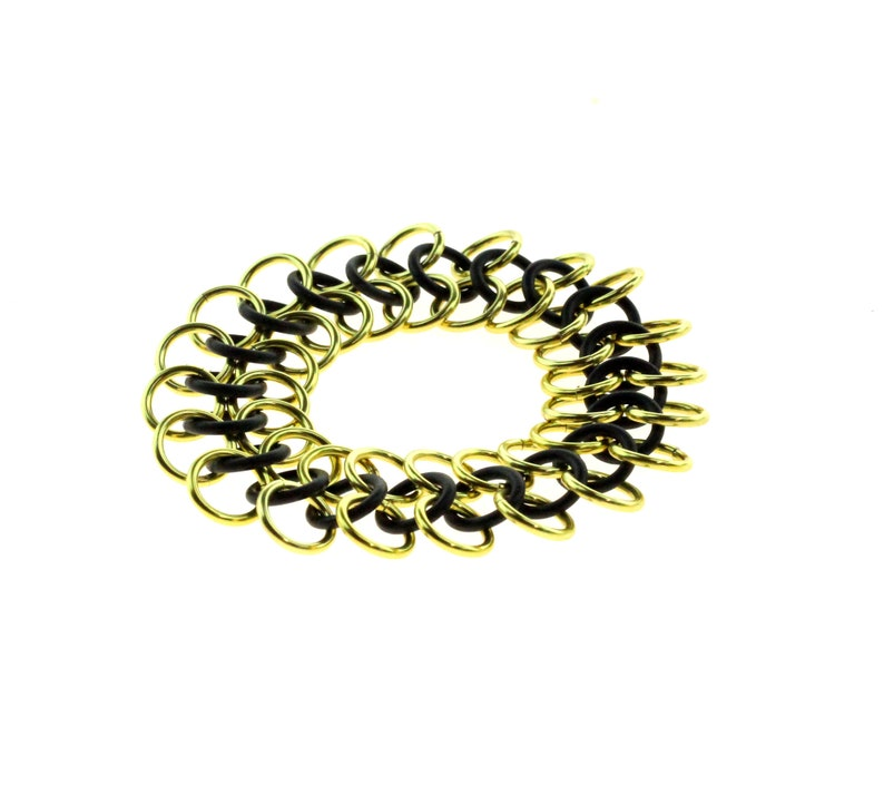 Stretchy Chainmail Bracelet With Black Neoprene And Gold image 1