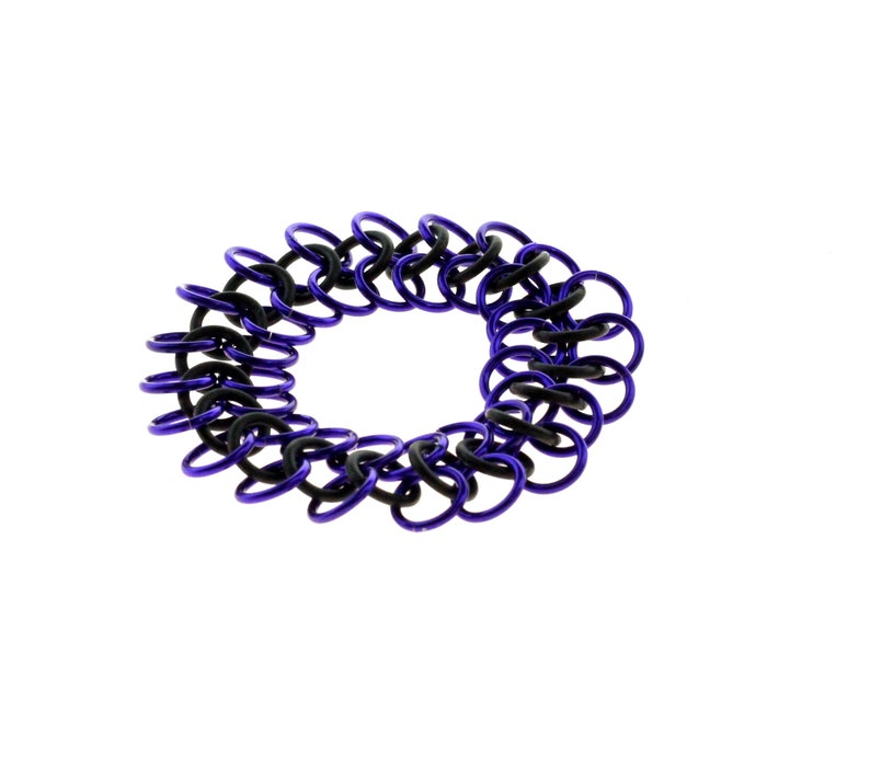 Stretchy Chainmail Bracelet With Black Neoprene And Purple image 1