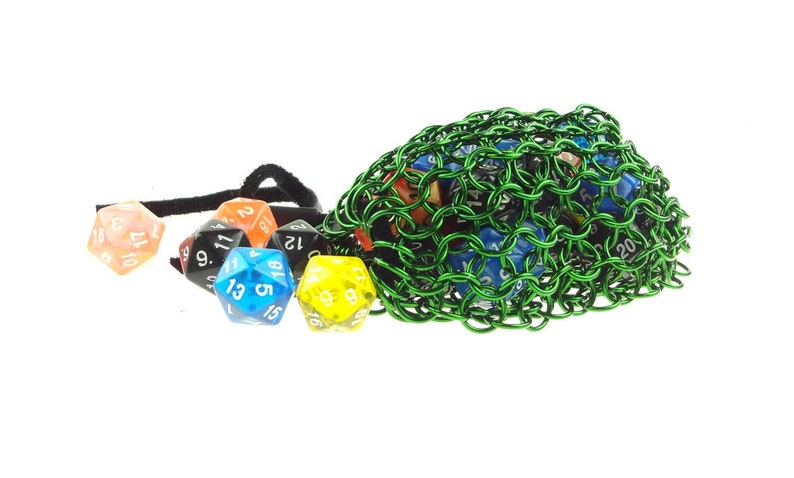 Green Dice Bag Handmade Chainmail Dungeons And Dragons Pouch image 0