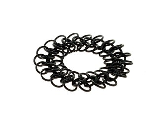 Black Stretchy Chainmail Bracelet With Neoprene And Anodized Aluminum