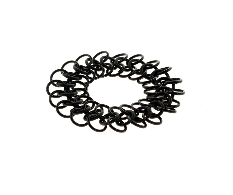 Black Stretchy Chainmail Bracelet With Neoprene And Anodized image 1
