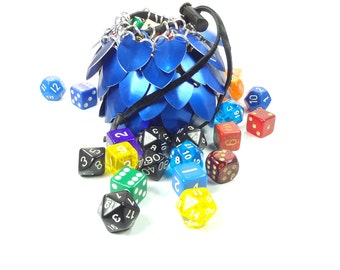 Dungeons And Dragons Blue Dice Bag Chainmaille And Scales Medium - Aluminum - SKDB-SC-M-BL