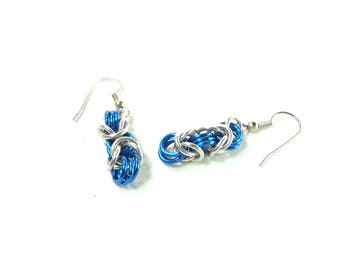 Chainmaille Earrings Byzantine or Birdcage Blue And Silver Anodized Aluminum