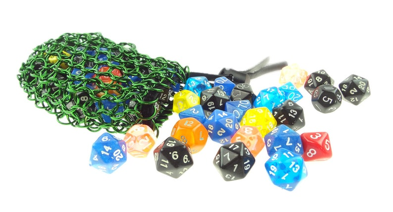 Green Dice Bag Handmade From Anodized Aluminum image 0