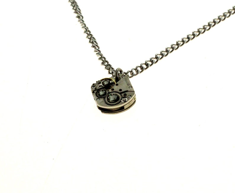 Steampunk Necklace Clockwork With Beautiful Smokey Swarovski image 1