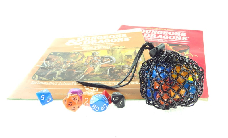 Black Dice Bag For Dungeons And Dragons Dice Chainmaille Pouch image 0