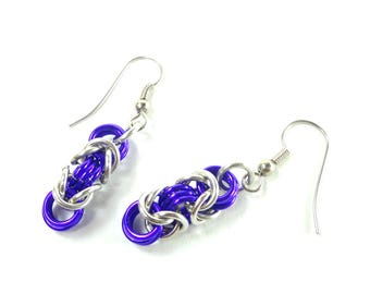 Chainmaille Earrings Byzantine or Birdcage Purple And Silver Anodized Aluminum