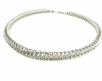Unisex Chainmaille Choker Necklace Box Weave European Chainmail Jewelry