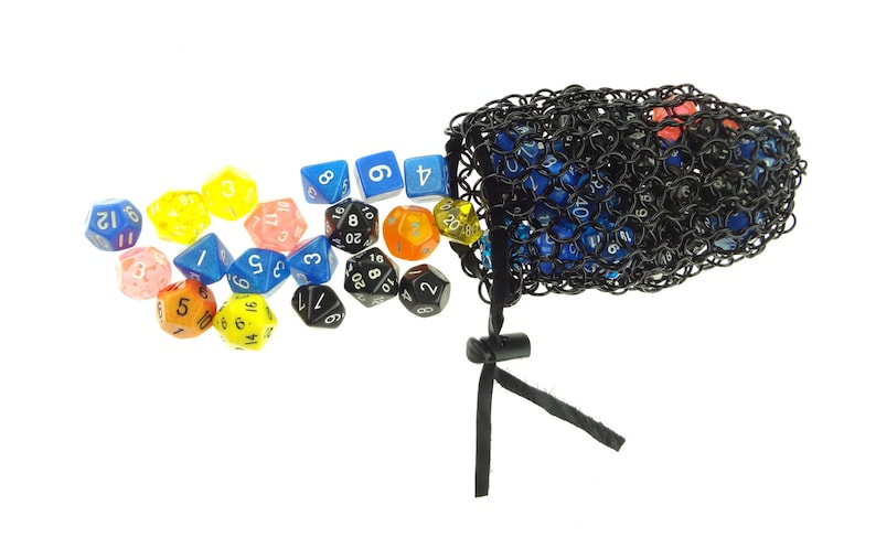 Black Metal Dice Bag For Dungeons And Dragons Gaming image 0