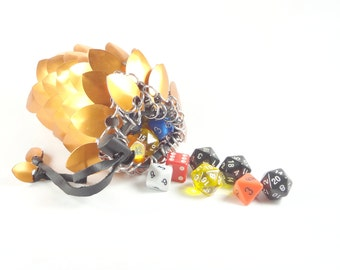 Dungeons And Dragons Large Dice Bag Golden Orange Chainmaille And Scales Aluminum - SKDB-SC-L-OR