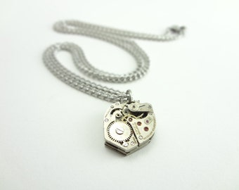 Steampunk Necklace Vintage Consolidated Watch Co Clockwork Pendant