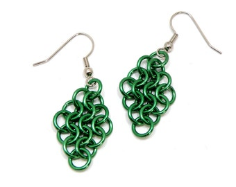 Chainmaille Earrings Green Anodized Aluminum