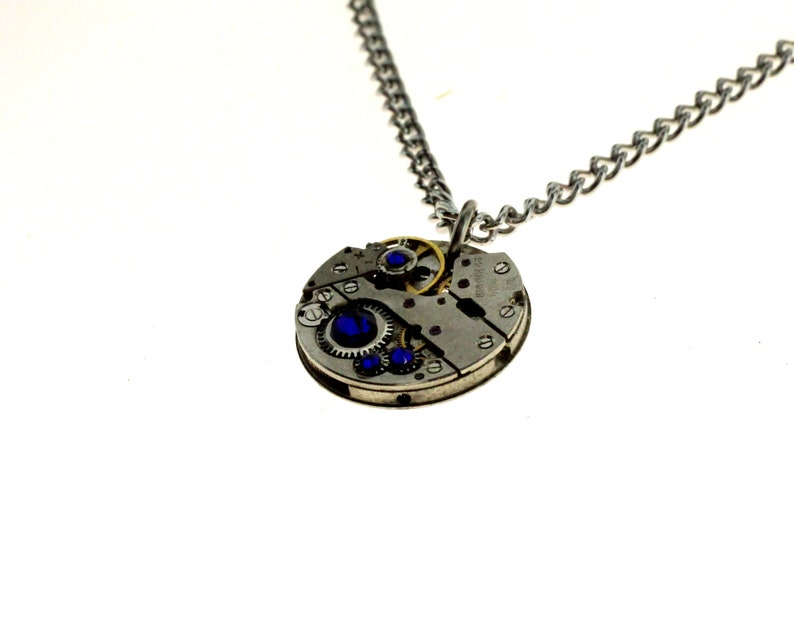 Steampunk Necklace Clockwork With Beautiful Cobalt Blue image 1