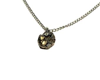 Steampunk Necklace Clockwork With Beautiful Peach Swarovski Crystals