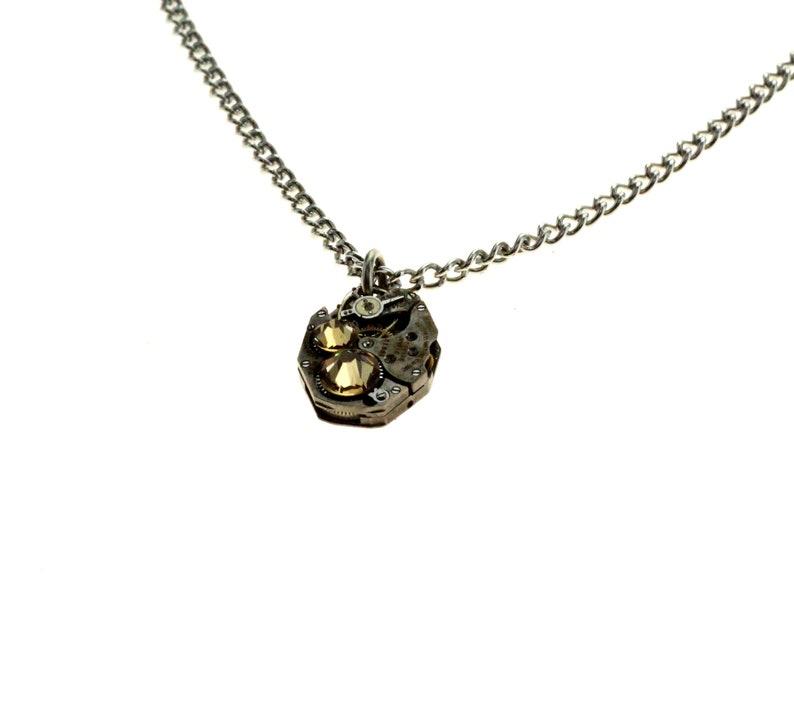 Steampunk Necklace Clockwork With Beautiful Peach Swarovski image 1