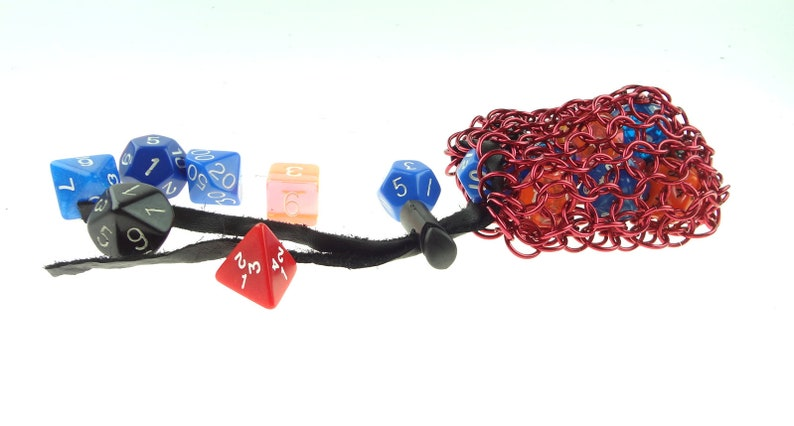 Red Chainmaille Dice Bag For Dungeons And Dragons Or Warhammer image 0