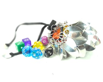 Dungeons And Dragons Silver Dice Bag Scalemaille And Chainmaille - Medium - Aluminum - SKDB-SC-M-SV