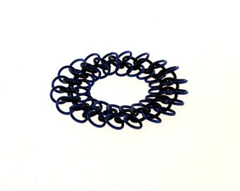 Stretchy Chainmail Bracelet With Black Neoprene And Blue Anodized Aluminum